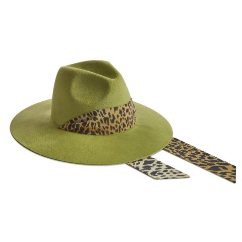 Big Fedora 9 cm - Velour verde - animalier