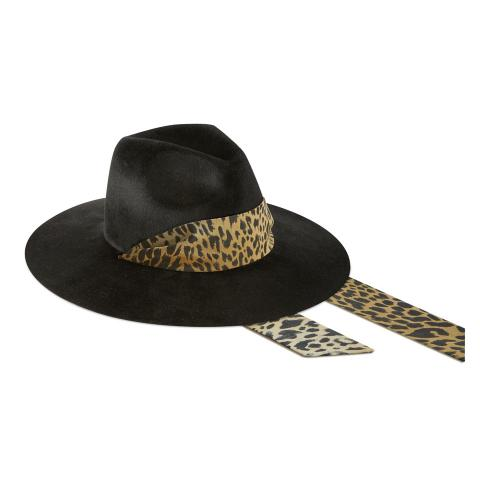 Big Fedora 9 cm - Velour nero - animalier